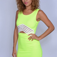 Neon Yellow Fitted Dress