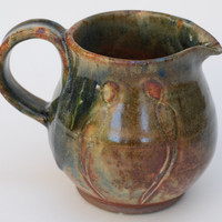 Pottery Creamer Pitcher Cinnamon Brown. Ceramic Creamer 10 oz, Pottery Small Pitcher, Creamer blue, green and brown Creamer.