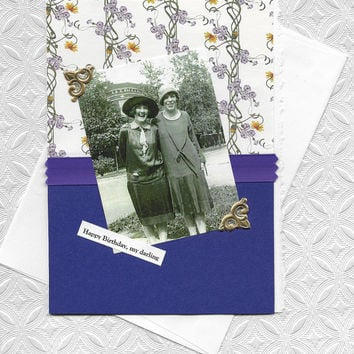 Happy Birthday Card for Lesbian Couples - Vintage Style Collage Art Gay Retro Women - You're the Best Gift
