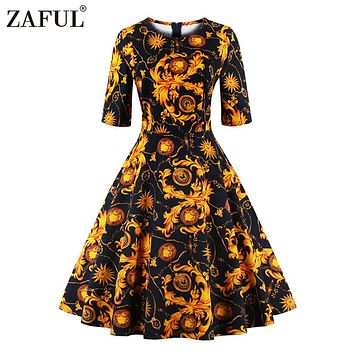 ZAFUL Summer Women Vintage Dress print Retro Robe O Neck Half Sleeve Audrey Hepburn 50s Dresses Plus Size Feminino Vestidos