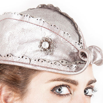 XS/S REVEILLE HAT, Shimmering Silvery Pearl Pink Leather, Vintage Silver Filigree Gemstone Pin