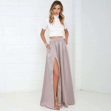 Women Long Skirt With Pockets Classy Pretty Maxi Skirt With Slits Floor Length A Line Skirt For Ladies To Office