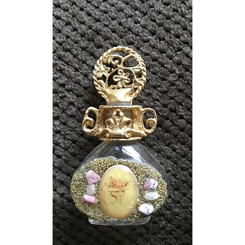 Vintage Adrian Filigree Miniature Perfume Bottle adorned w/ Pink Stones & Image #3