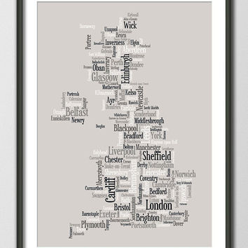 Great Britain UK City Typographic Text Map Art Print by artPause