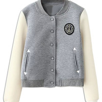 Gray Contrast Long Sleeve Patch Bomber Single-Breasted Jacket