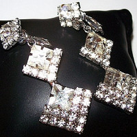 Rhinestone Wedding Earrings Princess Ice Stones Dangle Style Silver Metal Clip backs 2.5 in Vintage