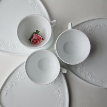 Vintage Imperial Milk Glass Floral Motif Snack/Luncheon Set for Three