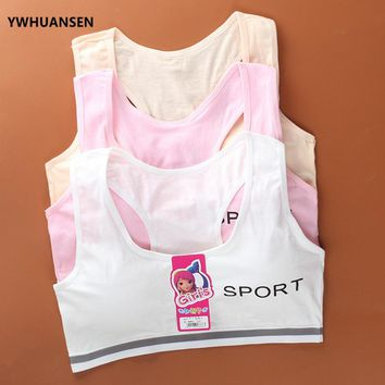 YWHUANSEN Wire Free Letter Print Young Girls Cosy Undies Children Clothing Teenagers Cotton Underwear Training Bras Sports Vest