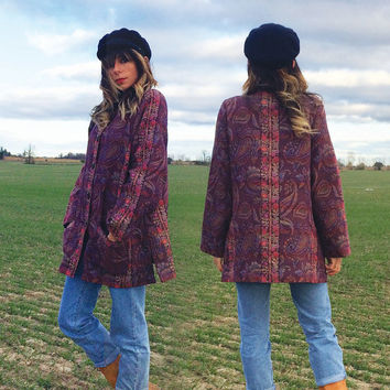 Vintage 1970's Byznatium TAPESTRY Paisley And Floral Jacket || Violet Purple Nehru Collar Tent Boho Hippie Jacket With Pockets || Size M