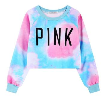 New Style Harajuku Women's Sweatshirts Colorful Tie Dye Pink Print Short Sweatshirt Crop Top Tracksuit Casual Ladies' Pullover