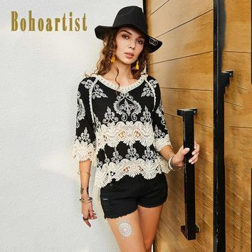 Fashion Women Cotton Floral Embroidery Blouses Shirt Boho Style Ethnic Lace Hollow Out V Neck Vintage Retro Casual Tops Summer