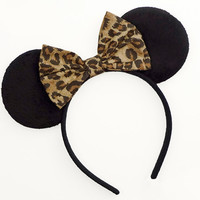 Minnie Mouse Ears Mouse Ears Bow Halloween Costume Cheetah Mickey Ears Headband Minnie Ears Cheetah Minnie Mouse Bow Minnie Mouse Outfit