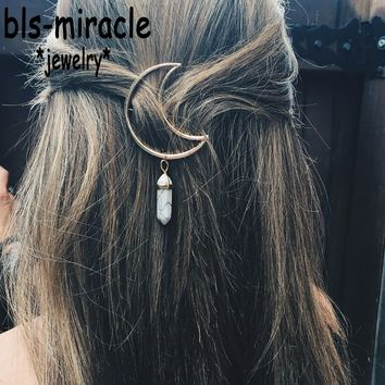 Bls-miracle Bohemian Moon alloy Mix colorful stone pendant hair accessory For Woman Vintage Boho Party Jewelry Gift Girl HA-116