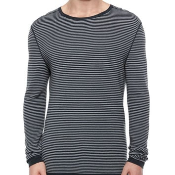 Striped Long-Sleeve Crewneck Sweater, Gray/Black, Size:
