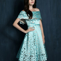 Light Blue Laser Cut Fold Off Shoulder Prom Skater Dress