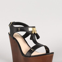 Bamboo Leatherette Tassel T-Strap Faux Wooden Platform Wedge Color: Yellow, Size: 7.5