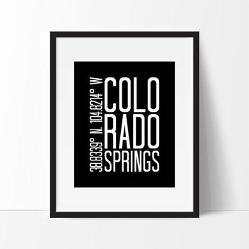 Colorado Art Print, Colorado Springs, Colorado Wall Art, Colorado Springs Coordinates, City Coordinates, Gift For Friend, City Art