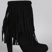 Breckelle Braided Layered Fringe Almond Toe Heeled Booties