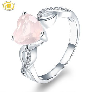 Hutang Engagement Ring Natural Gemstone Rose Quartz Solid 925 Sterling Silver Heart Fine Fashion Stone Jewelry Infinite Love New