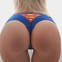 Superman Pattern Print Women Triangle Underpant Brief Panty
