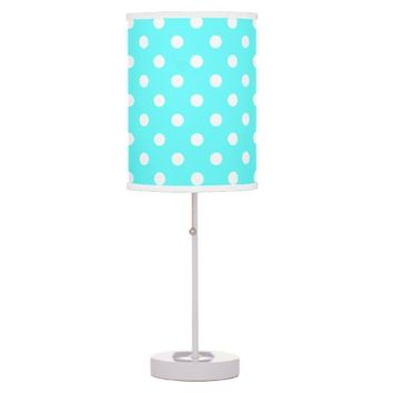 Cute Aqua & White Polka Dot Lamp