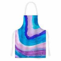 "Viviana Gonzalez ""Agate Inspired Watercolor Abstract"" Blue Purple Watercolor Artistic Apron"