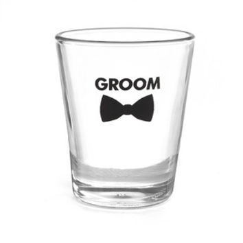 Groom Bow Tie Wedding Party Shot Glass