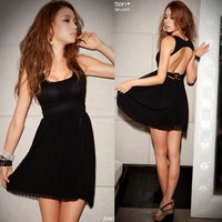 New Womens Sexy Backless Pleated Black Party Evening Cocktail Mini Dresses 1565