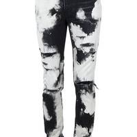 Indie Designs Saint Laurent Inspired Black Distressed Acid Wash Jeans