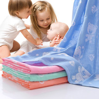 Baby Bath Towel Cotton Gauze Muslin Baby Towel Newborn Cotton Towel Cartoon Kids Towel AbsorbingTowels Soft Washcloth 110*110cm