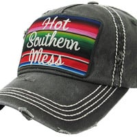 Hot Southern Mess Black Serape Baseball Cap