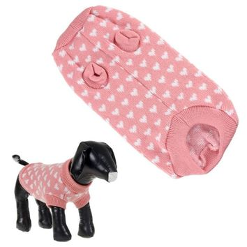 New Qualified Fashion Pink Dog Sweater&Lovely White Hearts Pet Clothes Jumper Levert Dropship dig6225