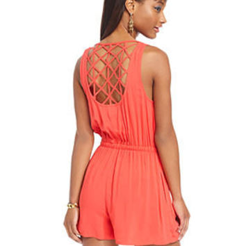 Material Girl Juniors Romper, Sleeveless Zip-Front Lattice-Back Romper - Juniors Jumpsuits & Rompers - Macy's