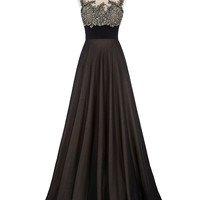 Prom Dresses 2016 Crew Neck Pleated Waist Appliques Formal Promdress Galajurken Cheap Long Black Prom Dress Under 50