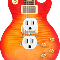 ColoRiffic Cherry Sunburst Electric Guitar shaped Light Switch Outlet GFI Decora cable,blank wall plate cover