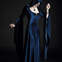 Aislinn Hooded Gown Faerie Cloak in Velvet - Custom Elegant Gothic Clothing