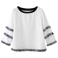 Fringed Cropped Top with Sleeve