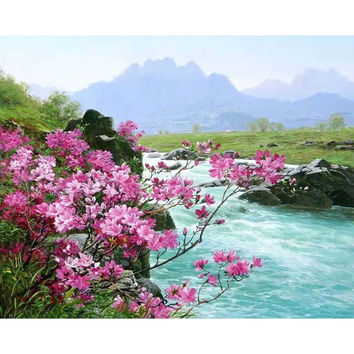 Frameless Romantic River Landscape DIY Painting By Numbers Kits Acrylic Paint On Canvas Handpainted Home Wall Decor Art Picture