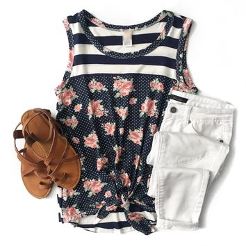 Navy Stripe, Polka Dot and Floral Sleeveless Top