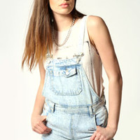 Tasha Acid Wash Denim Dungaree Shorts