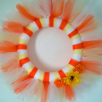 "Candy Corn 14"" TULLE Wreath TUTU Door Decor Halloween FALL Autumn"