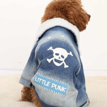 Pet Dog Clothes Pet Apparel Large Dog Lamb Fur Collar Clothing With a Skull Design Winter Jean Coat XS/S/M/L/XL