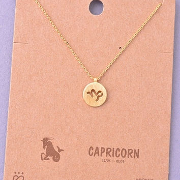 Dainty Circle Coin Capricorn Zodiac Symbol Necklace - Gold, Silver or Rose Gold