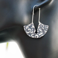 Sterling silver earrings, Artisan earrings, Statement earrings, Silver tribal earrings, Oxidised serlling silver earrings, Flower pattern