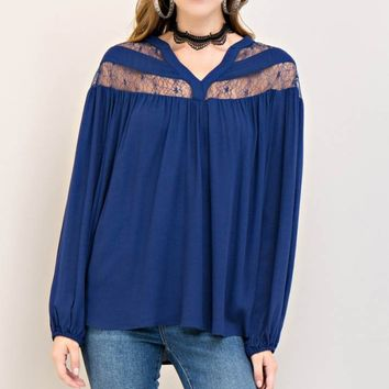Long Sleeve Lace Detailed Woven Top