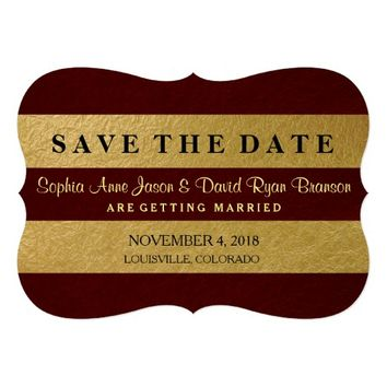 "Royal Gold Leaf Stripes Wedding Save The Date 5"" X 7"" Invitation Card"