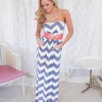 Heavenly Chevron Maxi Gray