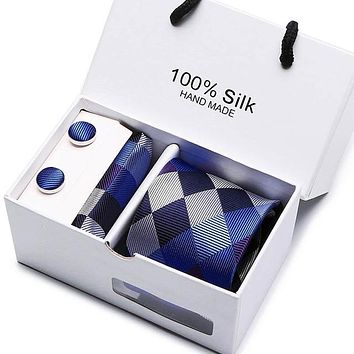 Silk Tie Gift Set with Cuff Links and Handkerchief