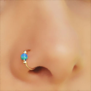 FAKE NOSE RING, Opal Nose, Gold filled, Ring, Fake Piercing, Fake Ring Nose, Dark Blue Opal