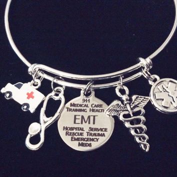EMT First Responder Jewelry Expandable Charm Bracelet Silver Adjustable Bangle Medical Alert Ambulance Stethoscope Emergency Medical One Size Fist All Gift